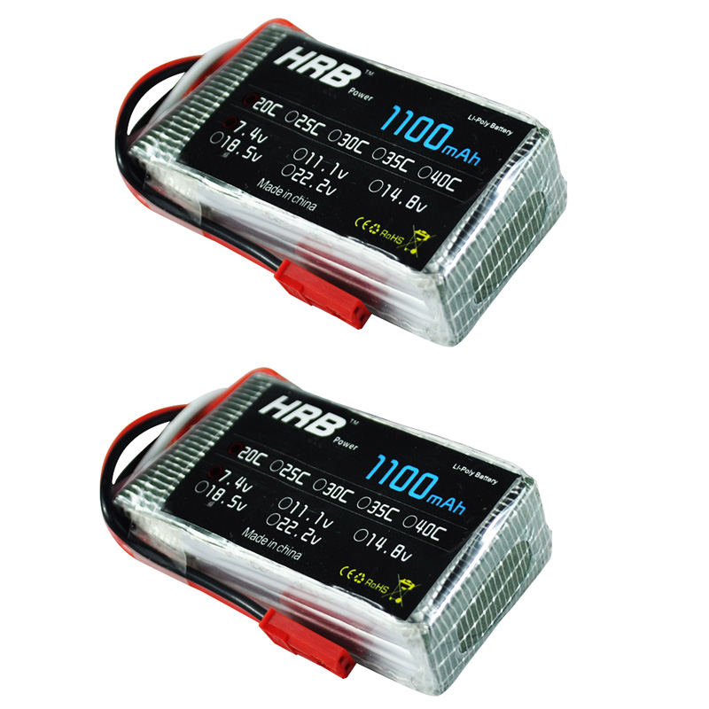 2pcs HRB RC Lipo Battery 2S 7.4V 1100MAH 25C Max 50C For wltoys A949 A959 A969 A979 K929 V912 V913 V262 wl911 wl912