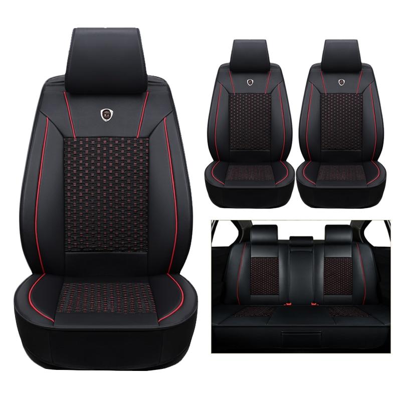 Alta calidad (cuero + seda) cubierta de asiento de coche para Skoda Octavia 2 A7 A5 Fabia superb Rapid Yeti Super coches accesorios-estilo auto