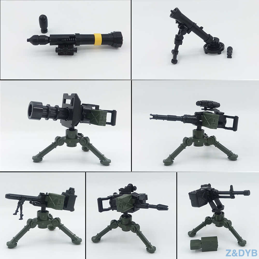 Heavy Machine Guns DIY Military Weapons Kits Bazooka Soldier Army Model Building Block Brick Arms WW2 Police Legoed Children Toy