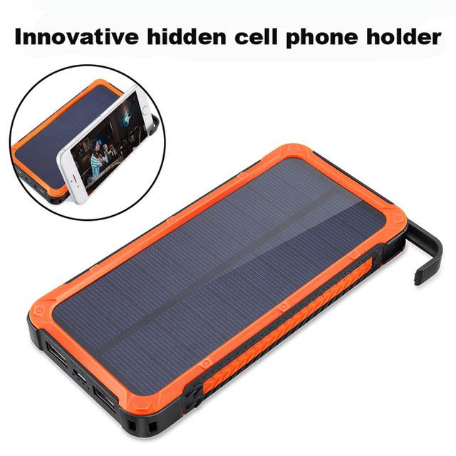 Nova bolsa de Viagem À Prova D' Água Solar Power Bank 12000 mah Dual USB Solar Suporte Do Telefone Powerbank Carregador de Bateria para todos os telemóveis