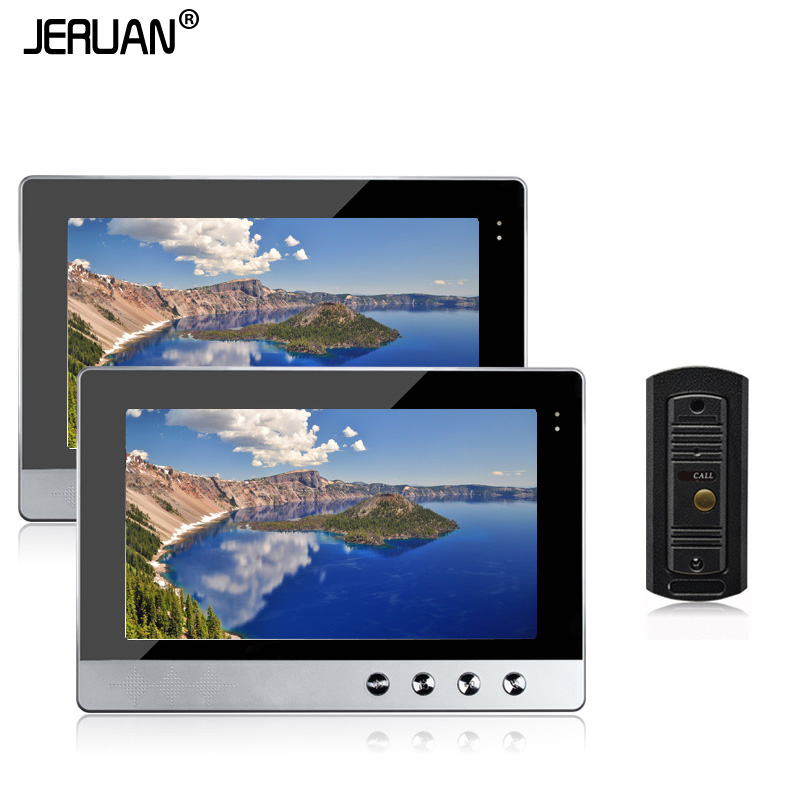 JERUAN New Wired 10 Video Intercom Door Phone System 2 Monitors + 1 Night Vision Outdoor Camera In Stock Free Shipping jeruan new doorbell intercom doorphone wireless video door phone with memory image station outdoor night vision function