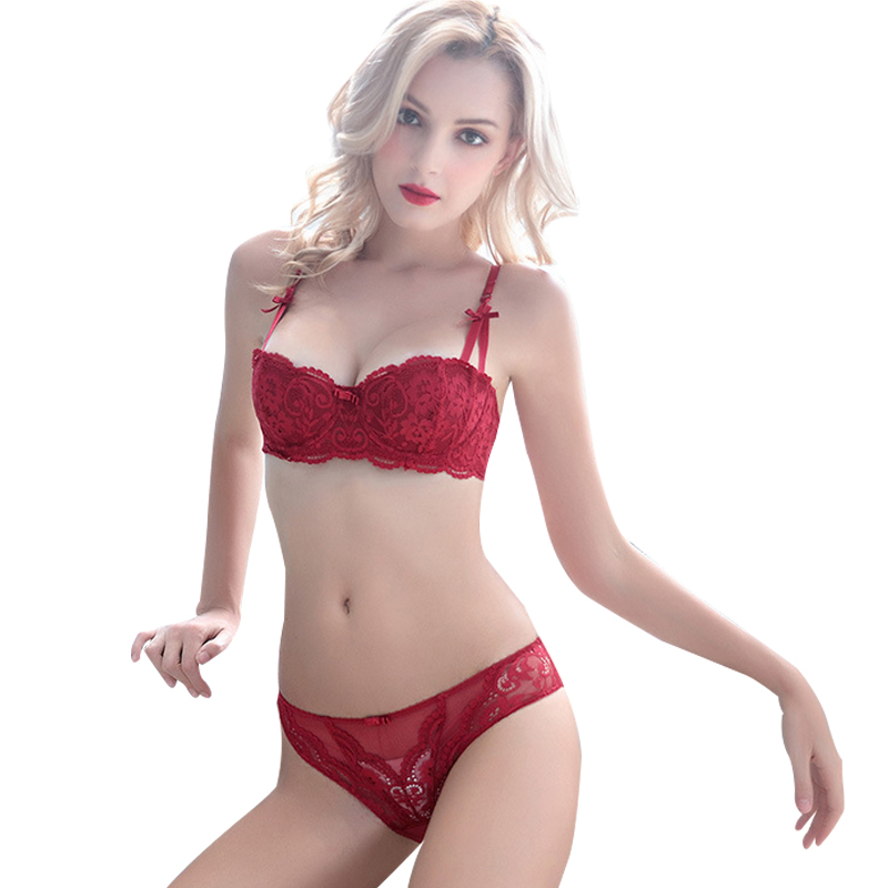 ec82d059b7776 Women Sexy Ultra Thin Transparent Lace Embroidery Big Size 1 2 Cup Bra Set  Underwear A B C D Cup Red Lingerie-in Bra   Brief Sets from Underwear ...