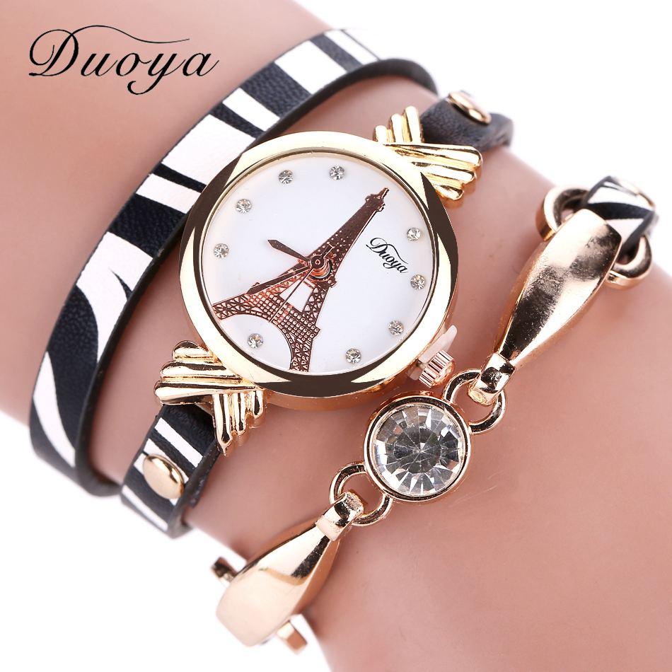 Dames gouden horloge Duoya merk mode zwart witte lederen armband - Dameshorloges