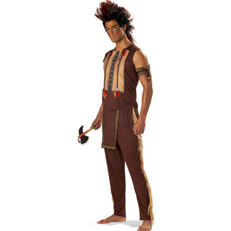 Armor Screen print Top Waist Tabard Pant Adult Men Noble Indian Warrior Halloween Costume With Two Armbands L15304