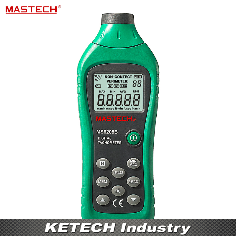 Non Contact Digital Tachometer MS6208B With Stable Performance 50RPM--19999RPM Meter uni t ut372 non contact tachometer with measuring range 10 to 99 999 rpm