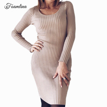 Фотография Foamlina Warm Long Sweater Dress Women Fall Winter Long Sleeve Bodycon Dress Elastic Striped Slim Knitted Dress Vestidos