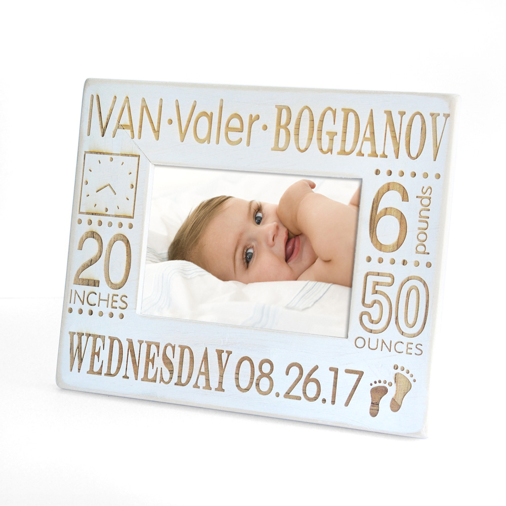 Custom Baby Photo Frame,Engrave Wood Picture Frame,Rustic Picture ...
