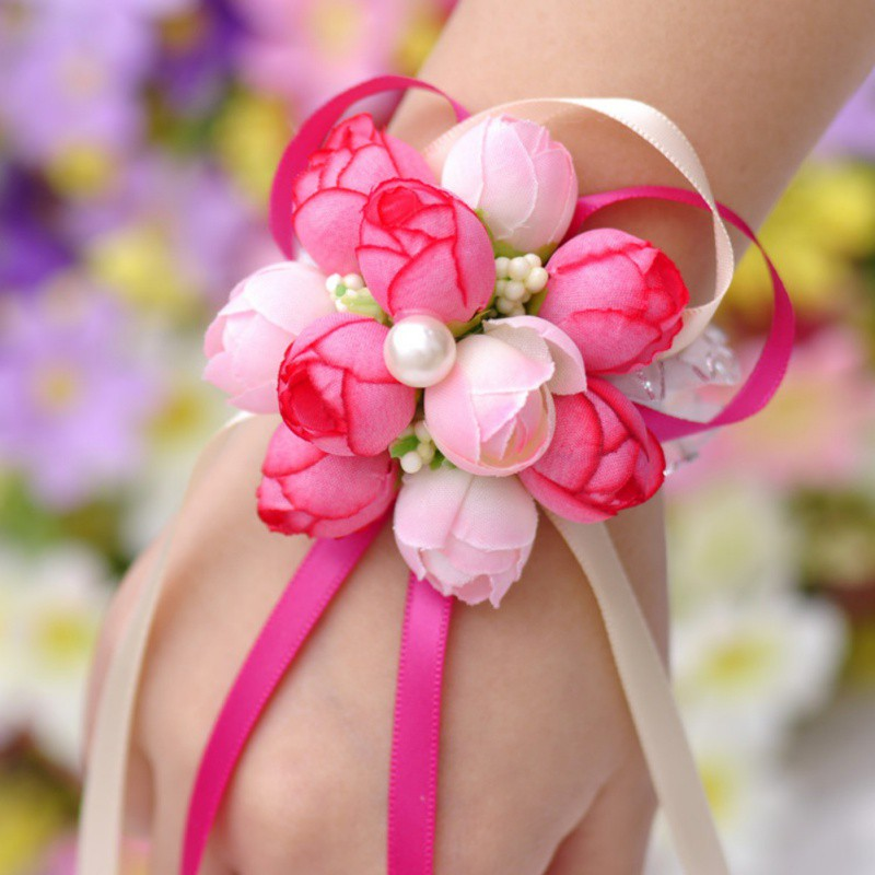 Wedding decoration mariage rose Wrist Corsages Hand Flower silk Lace PE Foam Artificial Brides Bridesmaid wrist flower christmas