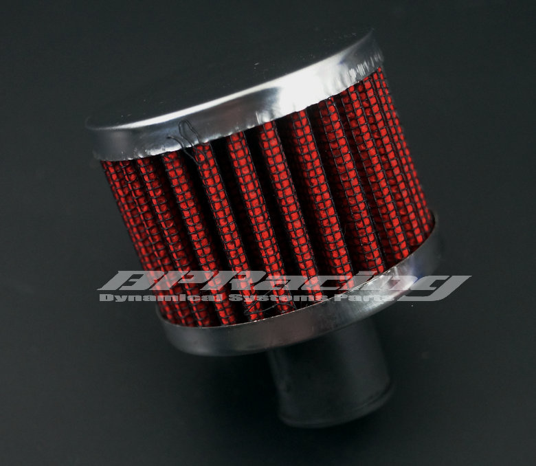 9mm Air Intake Manifold Crankcase Vent Valve / Valve Breather Intake Round  Air Filter Red /silver ~