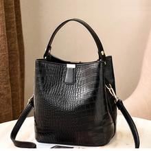 2019 New Fashion Crocodile Sac Women Crossbody Handbag Female Bucket Handbag Leather Lady Shoulder Bag Cassual Tote Woman Tasche