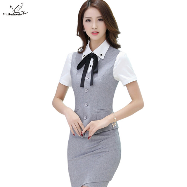 2016 Gray New fashion work wear women's clothing vest skirt suits office uniforms female plus size vest with skirt sets
