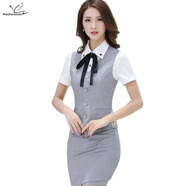 2016 Nueva moda Gris ropa de trabajo ropa de la falda del chaleco de las mujeres trajes de oficina uniformes más tamaño hembra chaleco con falda conjuntos