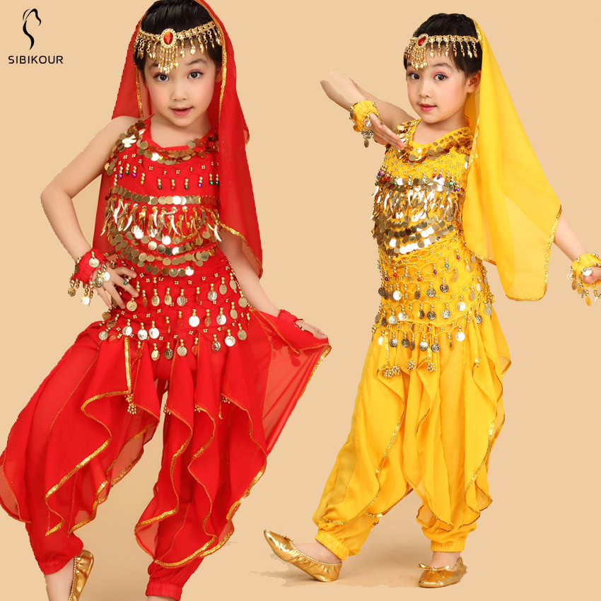 Kids Belly Dance Costume Bollywood Oriental Bellydance Dress Set Indian Egyptian Egypt Suit Pants Top DancingClothes Girls New