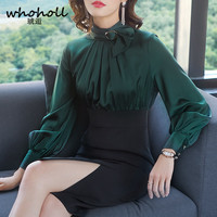 2018 Spring Womenscasual Dres Elegant Pleated Bow Stand Neck Long Sleeve Slim Work Office Business Cocktail