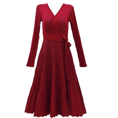 Féminine Qualité Chandail Creux Robe automne Longues De cou Plissée Tricot V 1 Mode Printemps Rouge Neuf À Vin Manches Haute trR8tqnS