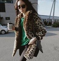 2016 New Rex Rabbit Fur Coat Imitation Korean Women Stylish Street Wear Leopard Fur Coat Winter