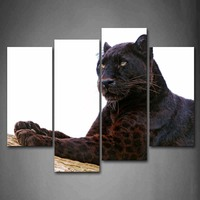 4 Pics Framed Wall Art Pictures Black Panther Wood Canvas Print Animal Modern Posters With Wooden Frames For Room Decor