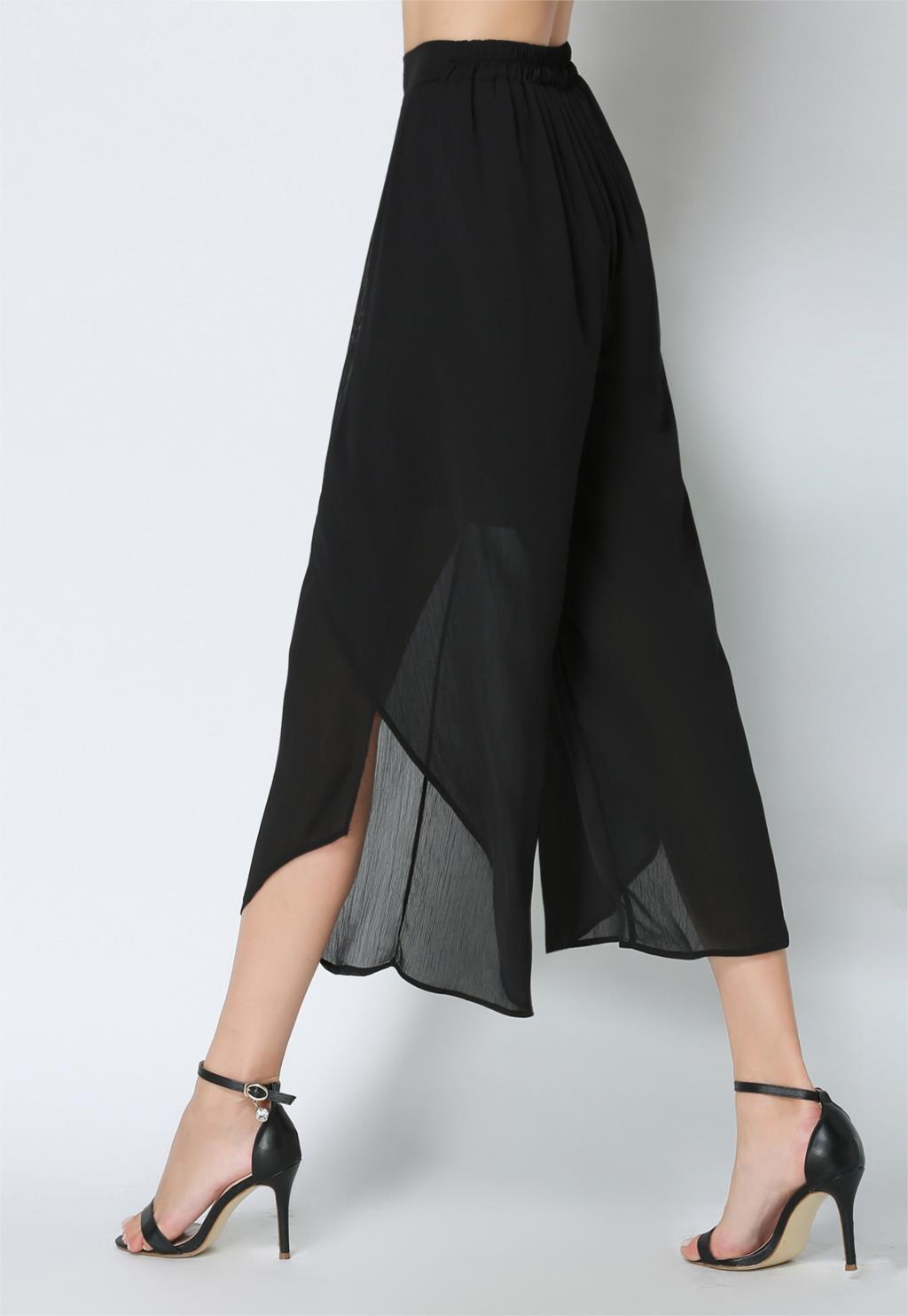 font b 2017 b font Women Chiffon Split Wide Leg font b Pants b font