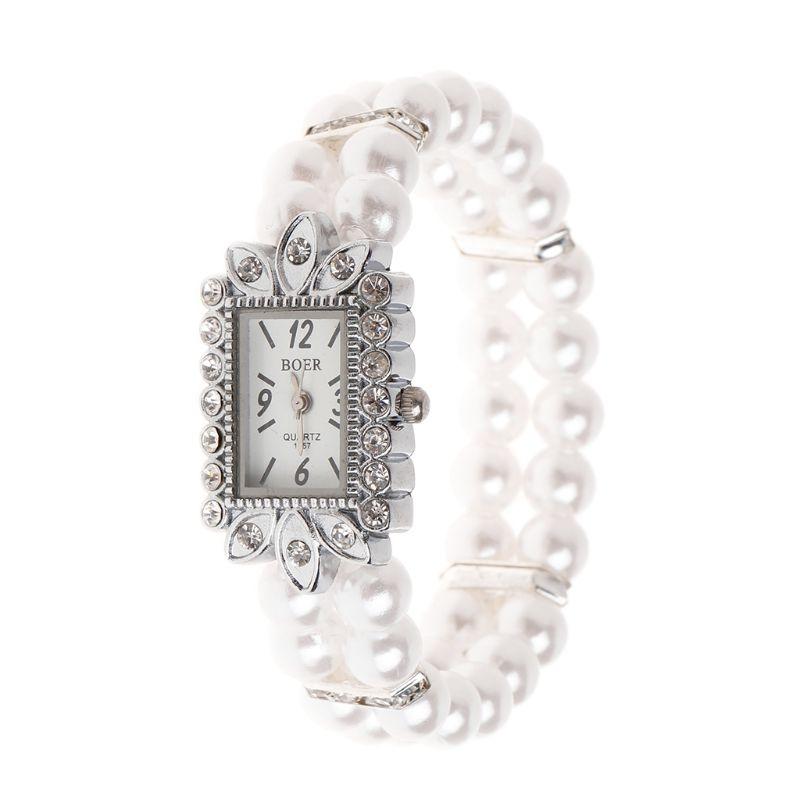 Women Watch Simulated Pearl Rhinestone Luxury Elegant Wrist Band Bracelet Jewelry Gifts Lady Elastic Universal Charms