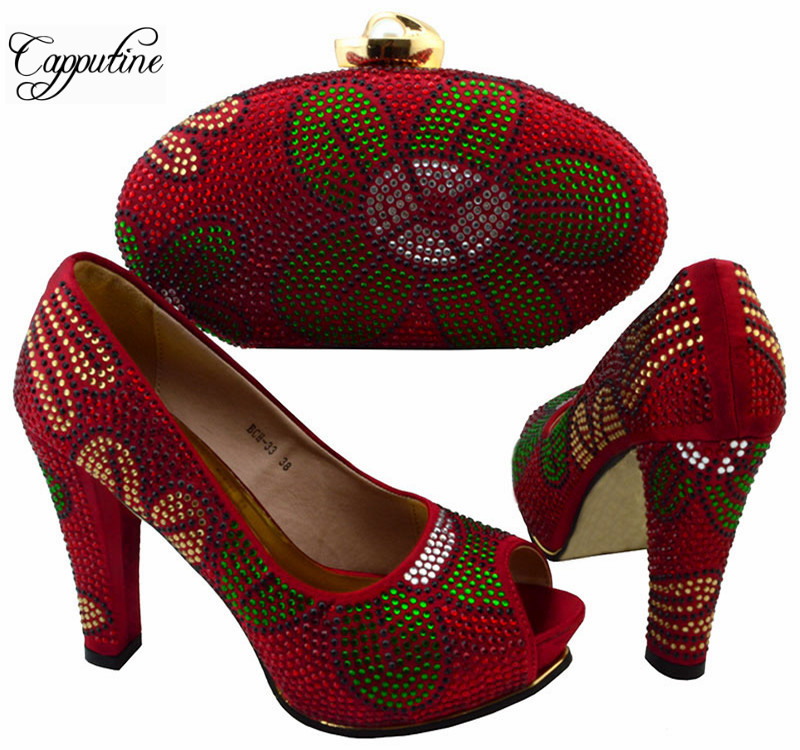 Capputine Fashion Africa Shoes With Bag Set Italian Style Woman Pumps Shoes And Purse Set For Party Free Shipping BCH-33