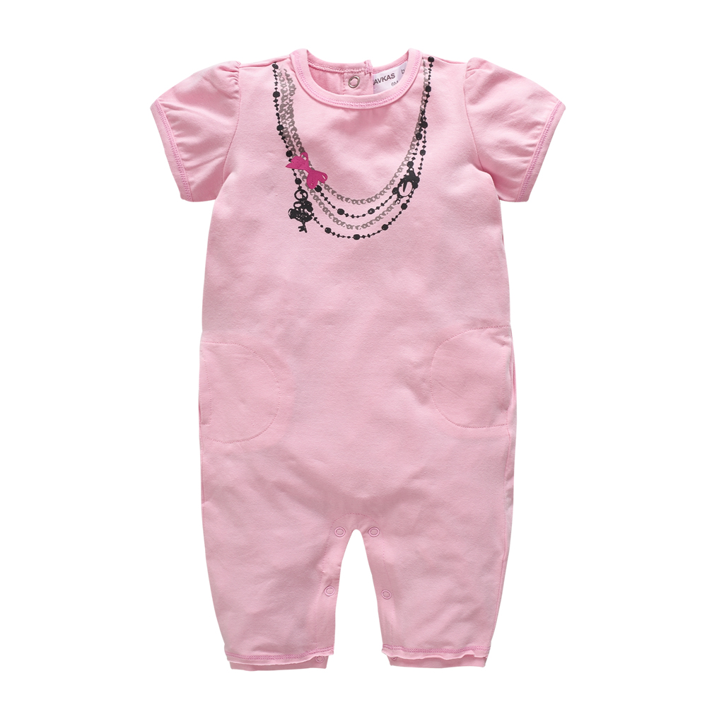 Pink Princess Newborn Baby Girl ClothesShort Sleeve Jumpsuits Infant Girls Rompers for 2018 Summer Baby Body Suits One-Pieces