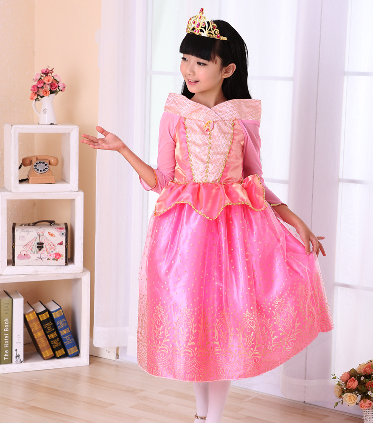 CaGiPlay kids pink Princess Aurora Dresses for girls party Costume  Sleeping Beauty Princess costume spring autumn girl dress