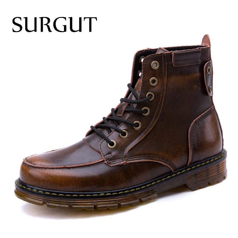 цена на SURGUT New Russian Keep Warm Autumn Winter Men Boots Footwear Top Quality Leather Casual Men Shoes with Plush Fashion Men Boots