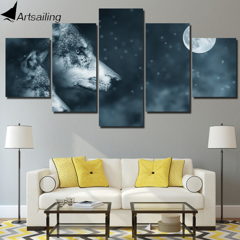 ArtSailing 5 panel Wolf and night moon Paintings canvas Pictures for living room Home Decoration Modular poster canvas print art