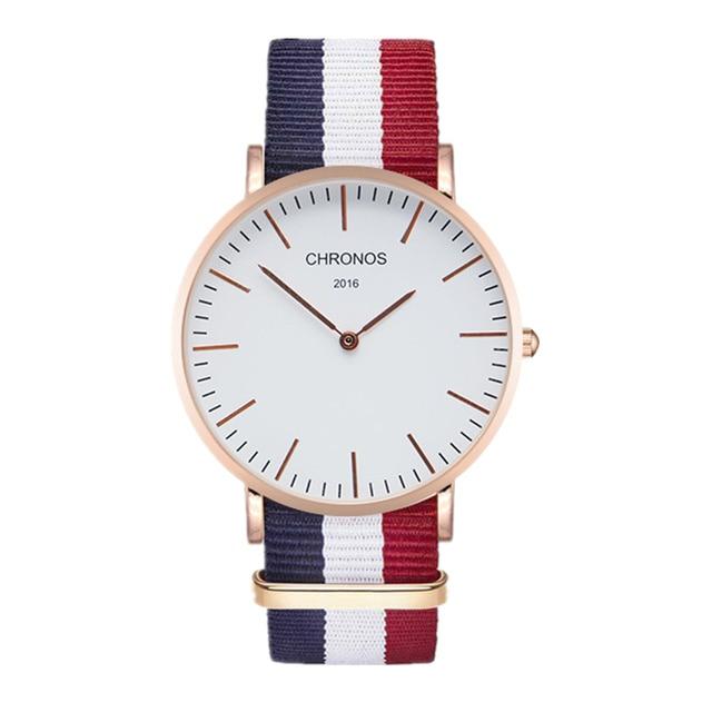CHRONOS Brand Watch Men Women Fashion Casual Watches Clock Classical Nylon Strap