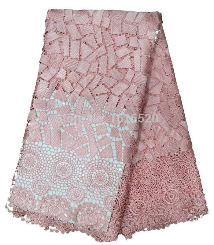 Summer Style Geometric Figure and Gear Design Pink African Guipure Lace Fabric Panic Buying and High Quality Water Soluble Lace