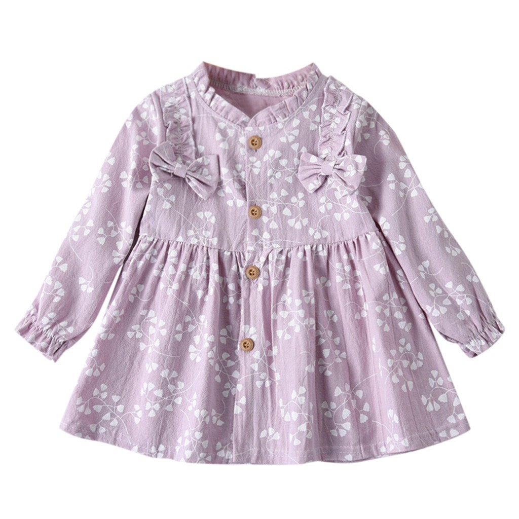 Toddler Kids Baby Girls Autumn Long Sleeve Solid Ruched Floral Dress Clothes US