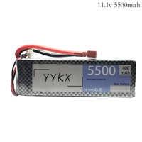 Batería de polímero de litio de alta potencia 11,1 v 5500mAh 40C para Rc helicóptero coche barco avión juguete 11,1 v 5500mah max 60C lipo batería
