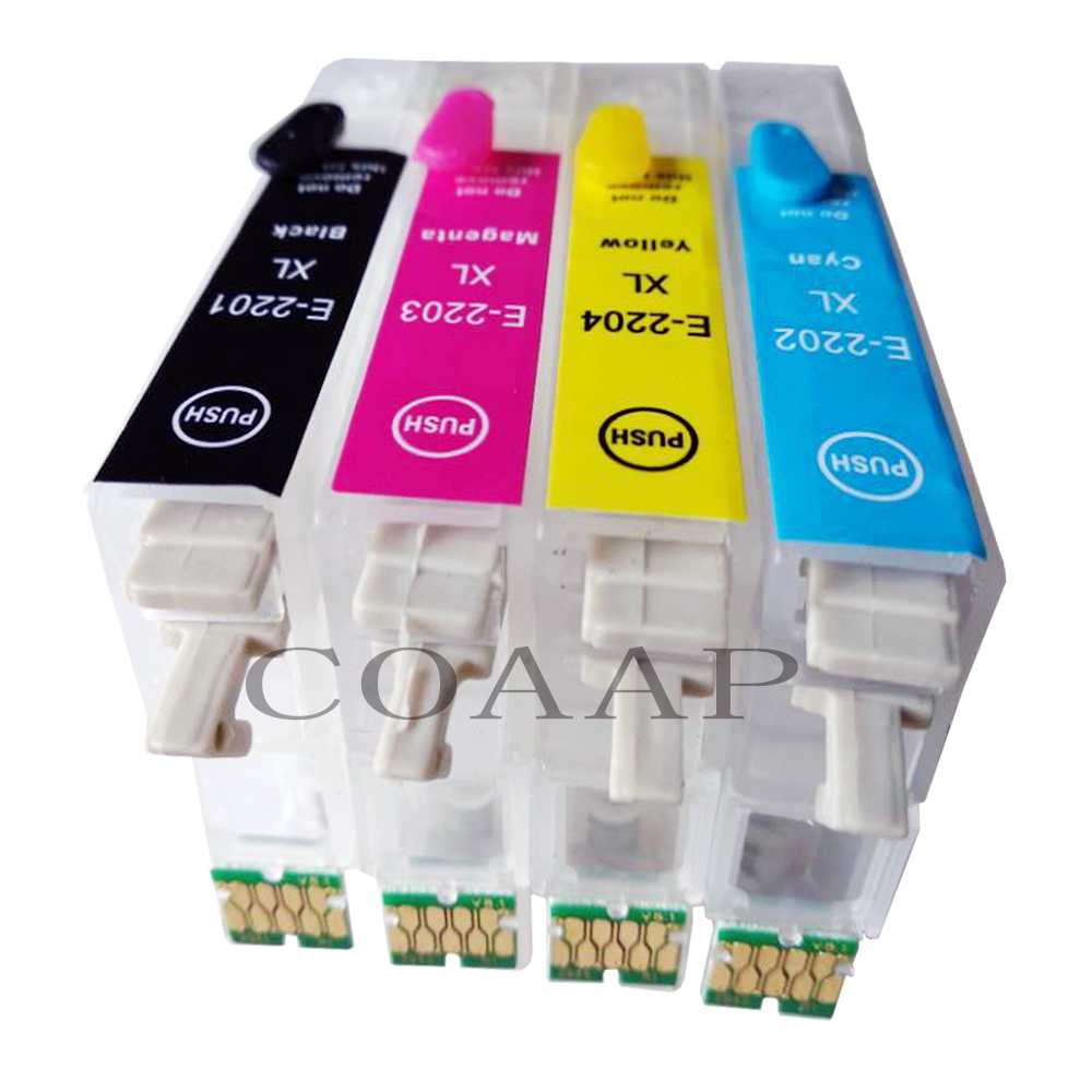4 Pack T2201 220XL <font><b>220</b></font> T220 Compatible empty ink cartridge with chips for <font><b>Epson</b></font> WorkForce XP-320 XP-420 XP-424 WF-2260 WF-2750 image