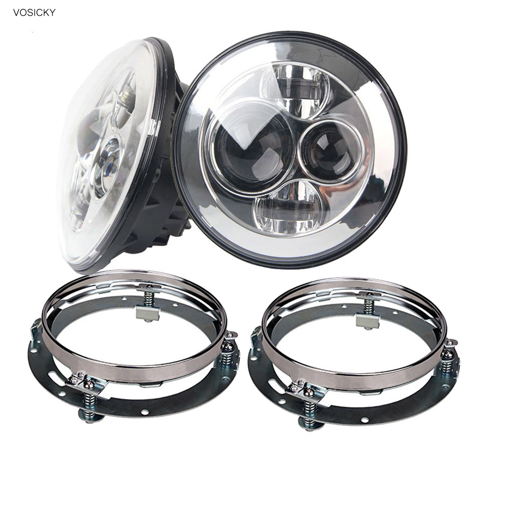 VOSICKY  7 inch Round Headlights Led Daymaker For Jeep Wrangler 97-15 Hummer with 2 pcs 7  mounting bracket ring support usb3 0 round type panel mounting usb connecter silver surface