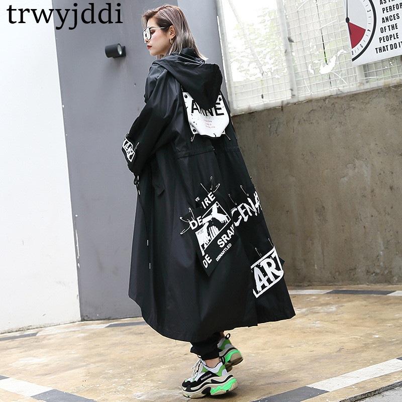 Korea Fashion New Women 2018 Spring Autumn Single Breasted Hooded Full Sleeve Long   Trench   Female Oversize Print Letter N476