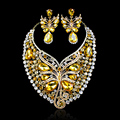 Hot Sale Butterfly Crystal Big Necklace Earrings Party Jewelry Set Indian Wedding Bridal Jewelry Sets For Brides Accessories