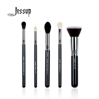 Jessup 5Pcs High Quality Pro Makeup Brush Set Kabuki Foundation Blend Contour Eye Shadow Highlighter Make