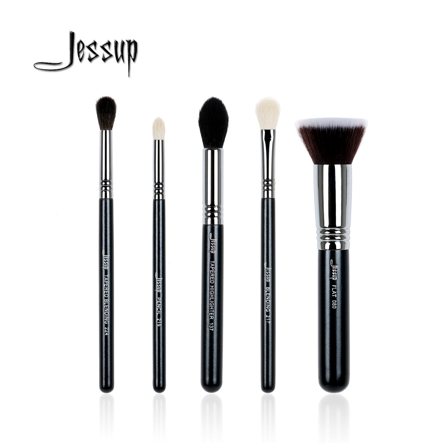 Jessup 5Pcs High Quality Pro Makeup Brush Set Foundation Blend Contour Eye shadow Highlighter Make up