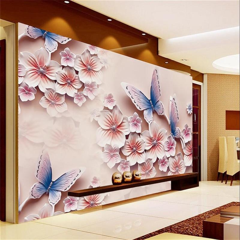 Beibehang wall paper relief murals tv backdrop romantic for Butterfly mural wallpaper