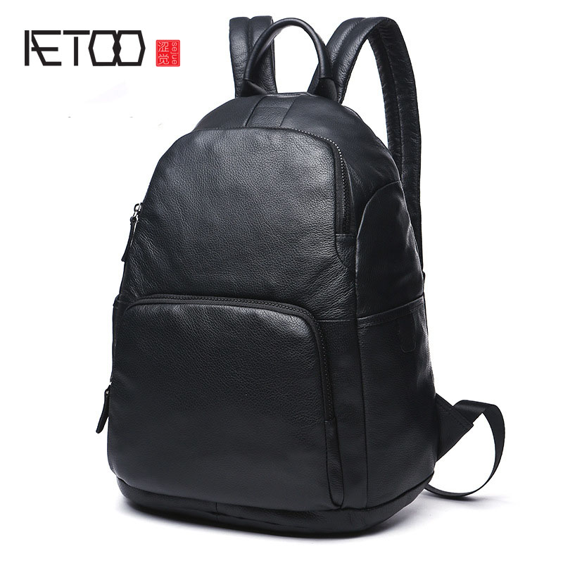 AETOO 2017 new men's leather shoulder bag head layer of leather large capacity black shoulder bag travel bag aetoo the new oil wax cow leather bags real leather bag fashion in europe and america big capacity of the bag