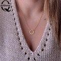 Collares de La Joyería de Moda de acero inoxidable Cadenas de Clavícula gargantilla Karma Círculo Declaración de Oro Rosa Collar Collier