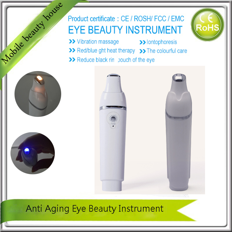Mini USB Iontophoresis Galvanic Ion Infrared Heating Eye Beauty Care Pouch Dark Circle Puffiness Remove Vibration Massager Pen