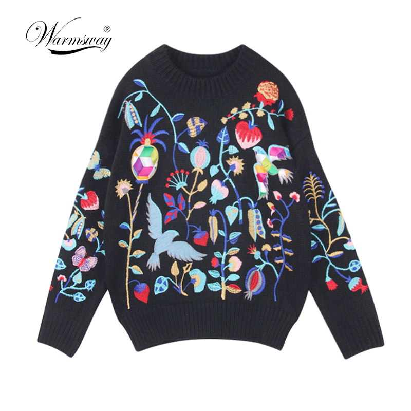 Women New vintage warm sweaters bird floral embroidery pullovers winter autumn knitted retro loose tops blusas
