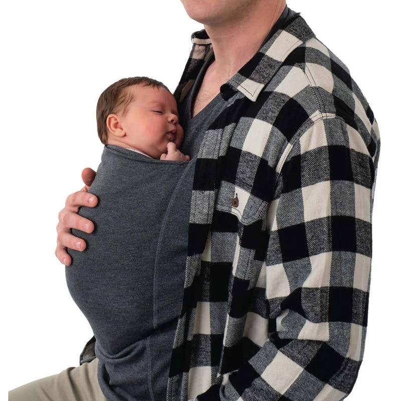 Men Multifunction Baby Carrier T Shirts Sling Kangaroo Pocket Dad Baby Tee Shirts Summer Family Matching T-shirts