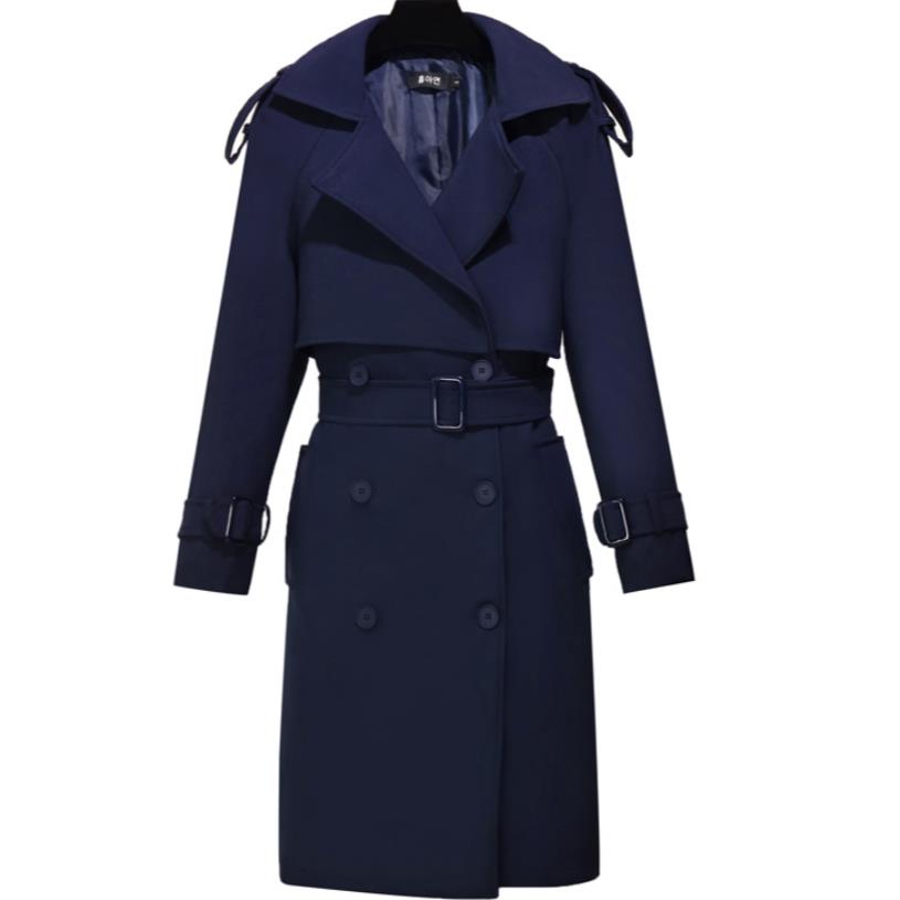 new women's   trench   coat Long Women's British Double Breasted coat