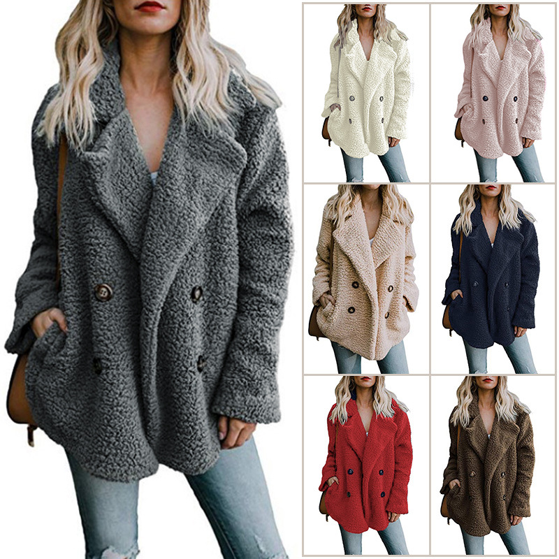 Women winter jacket 2019 fashion new double-breasted sweaters lapel loose fur jacket women outwear women coat ladies jacket 4