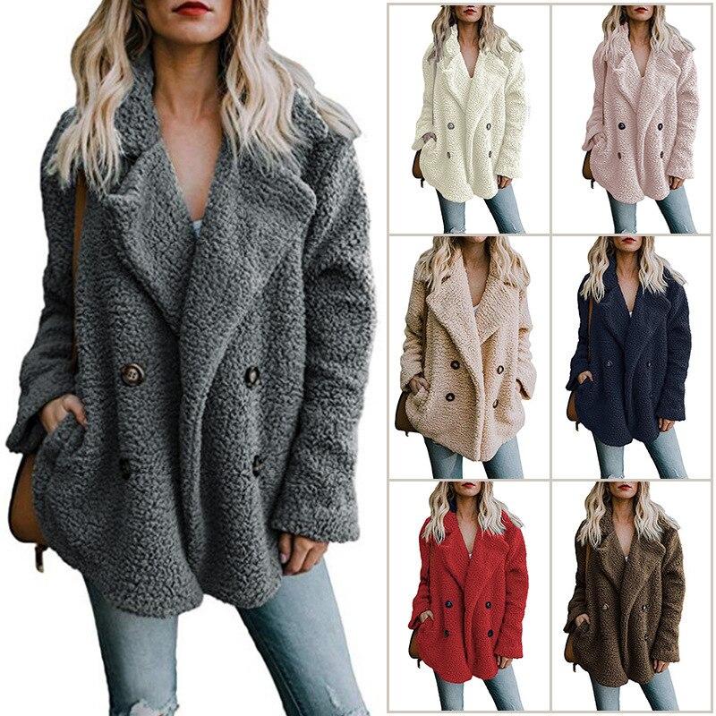Chaqueta Otoño Invierno 2019 nueva moda chaqueta suéteres solapa suelta chaqueta de piel de las mujeres prendas abrigo chaqueta de las señoras