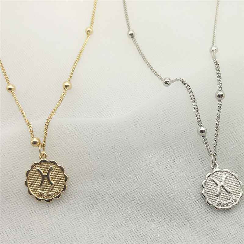 Dwanaście konstelacji moneta wyróżniający się naszyjnik miedziany Leo naszyjnik kobiety biżuteria dwanaście horoskop łańcuszek do obojczyka