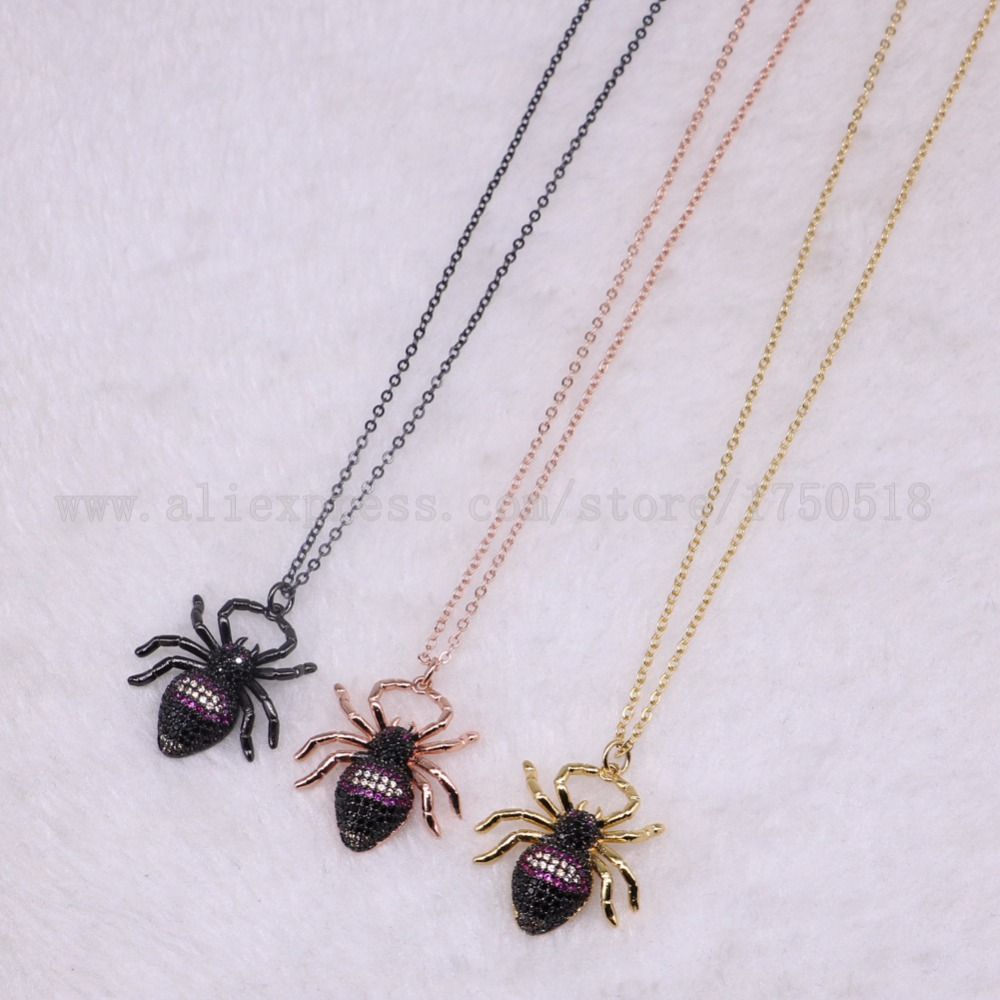 5 strands Bee Insects pets bugs spider necklace for lady Bee pendants small size jewelry 18 mix color necklace pets beads 3296