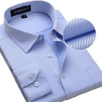 Plus Size Men Dress Shirts Long Sleeve Solid Bussiness Formal White Man Shirt Twill Fashion Male
